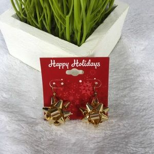 Jewelry - Christmas Bow Earrings Metal Gold Color New